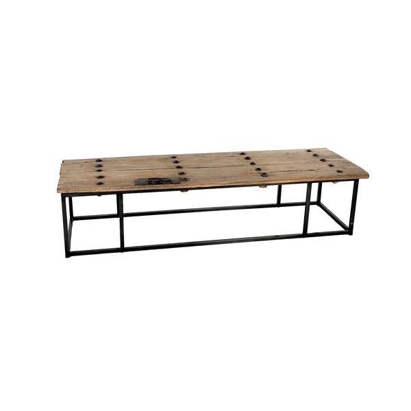 salontafel oud hout op metalen frame