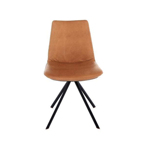 Draaibare stoel in leder op zwarte poten in metaal