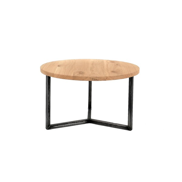 Ronde salontafel op metalen poten met massief houten blad