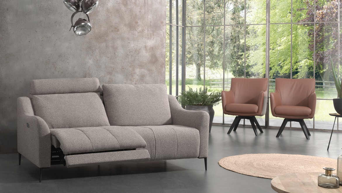 moderne canapé design in donkerblauwe stof met relax
