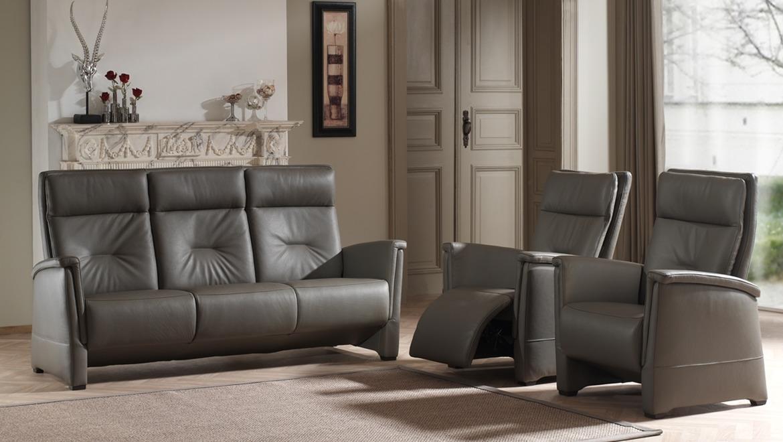 Klassieke compacte salon in leder 3-zit canapé