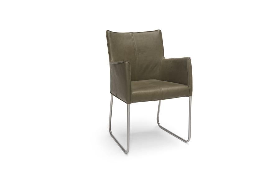 Armstoel cabana stoelen industrieel leder wieltjes groen maatwerk
