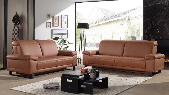 zetel in leder op sledepoot met opklapbaar hoofdsteun en relax