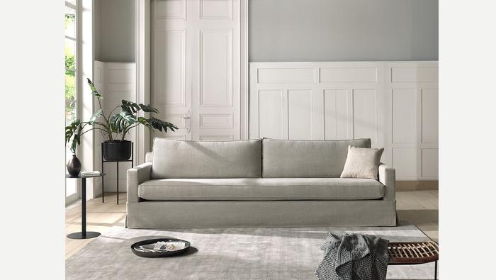 Canapé met 1 groot zitkussen en rok in linnen en katoen
