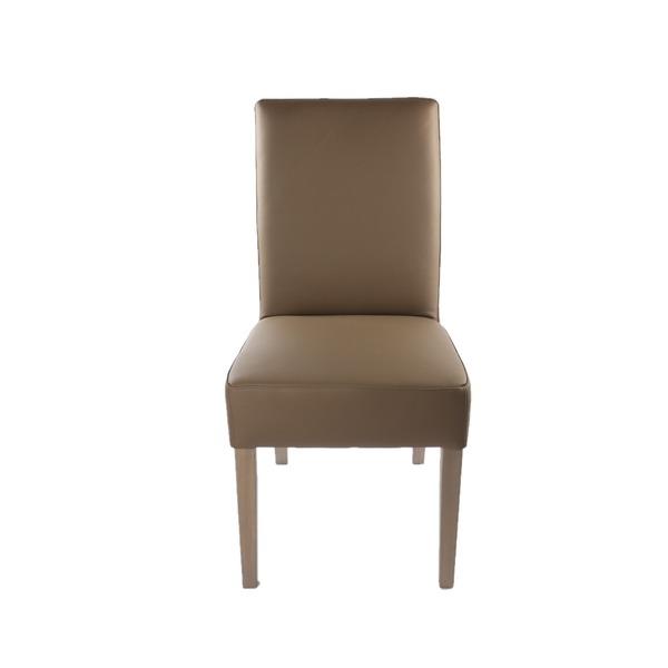 Klassieke stoel in leder met hoge rugleuning op houten poten