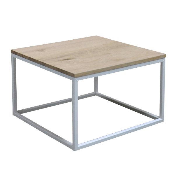 salontafel met houten bovenblad in eik op metalen frame