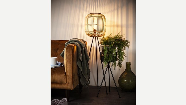 Trendy staanlamp in bamboe op 3-poot