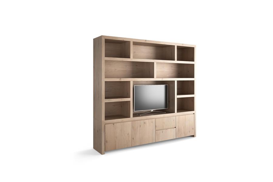 Tv-Wand Libris TV-kasten Tijdloos Modern Eik fineer Wit maatwerk - Toonzaal Meubelen Larridon