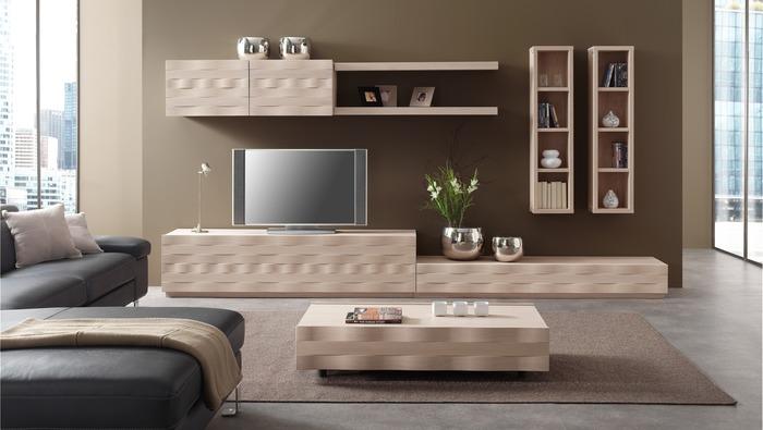 TV meubel voor aan de wand in massieve eik