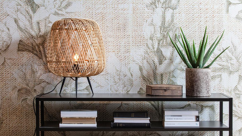 Sfeervolle lamp tafelmodel in gevlochten bamboe