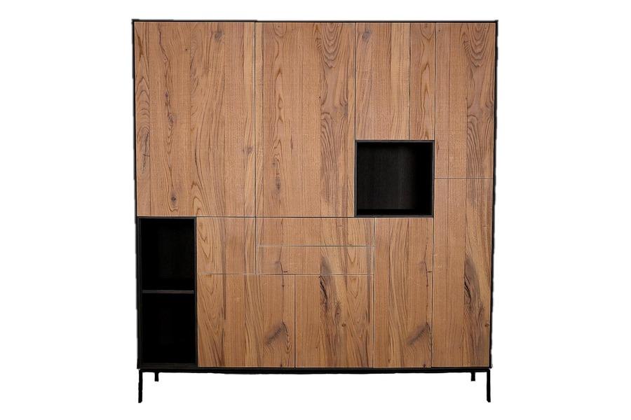 Wandkast Infinity Wandkasten Tijdloos Modern Eik fineer / metalen onderstel gelakt Naturel maatwerk