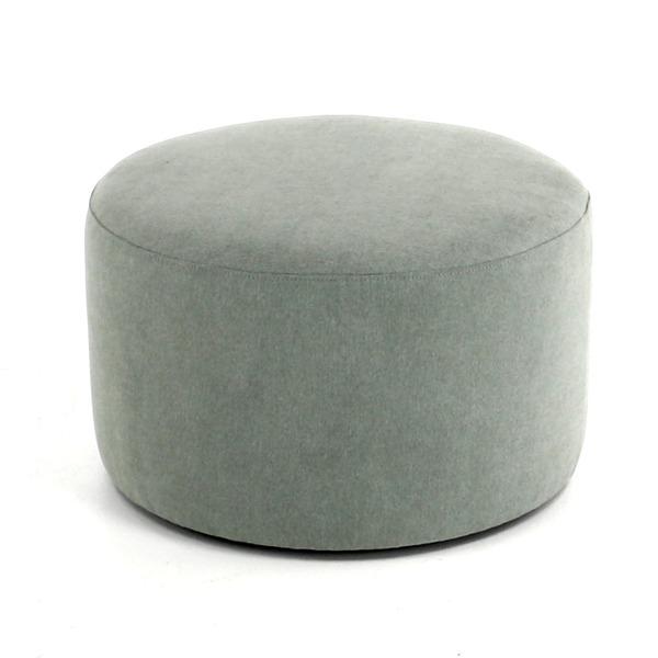 Hippe pouf rond in stof in verschillende diameter en hoogte