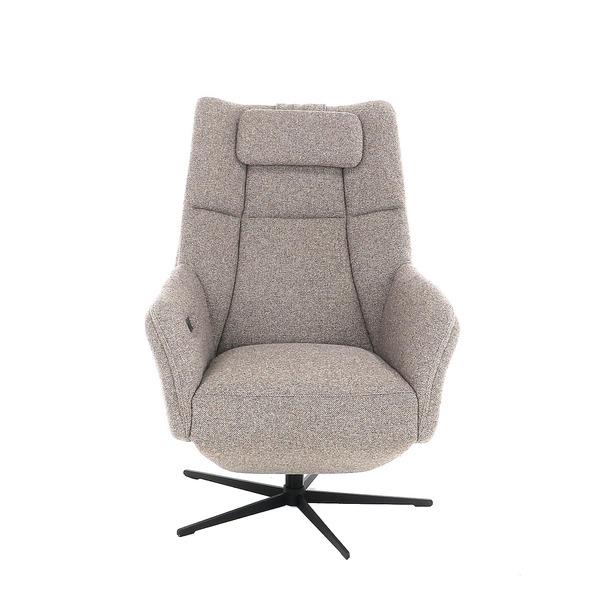 relax zetel in stof op metalen draaivoet zwart met hoofdkussen
