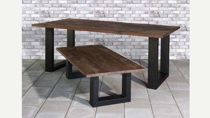 Bruine houten tafel op metalen U-poot