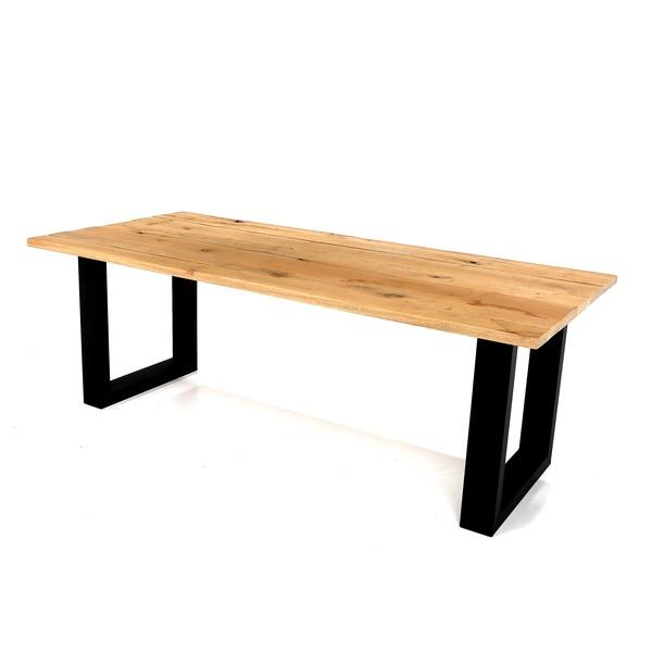 Houten tafel op metalen U-vormige poot in brut staal