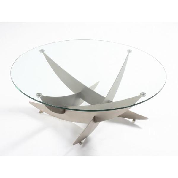 Ronde salontafel in glas op metalen poten