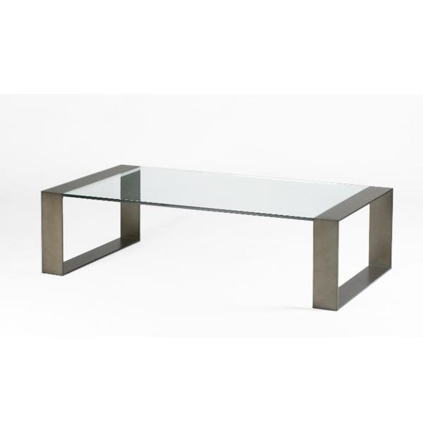 Glazen salontafel op metalen sledepoten rechthoekig