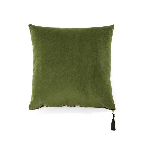 Zacht sierkussen in velvet groen met rits