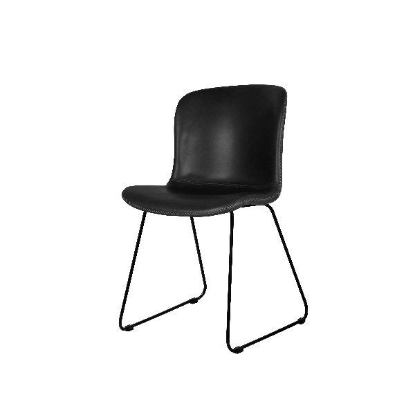 Zwarte moderne stoel op sledepoten in lederlook