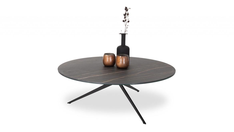 Ronde salontafel in keramiek zwart op metalen poten