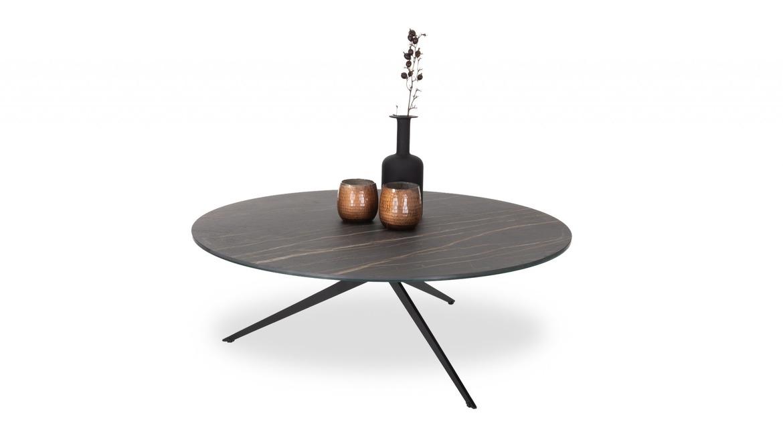 Ronde salontafel in eik op metalen poten