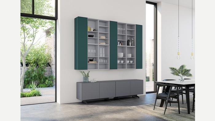 Modern tv-meubel grijs gelakt op poten