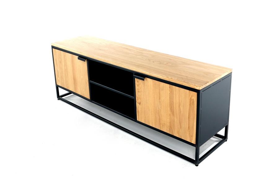 Tv-meubel Kwadrat TV-kasten Industrieel Massief eik Naturel maatwerk