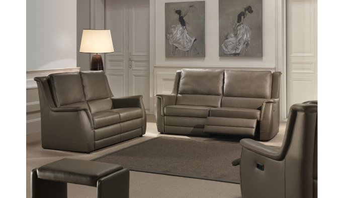 Salon in leder met lendensteun en goed zitcomfort met relax