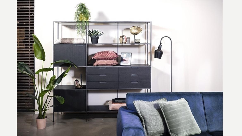 Zwart wandrek met lades en deuren in acacia hout en metaal