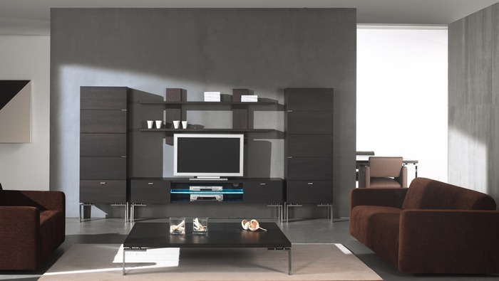Tv meubel in hout op rvs poten