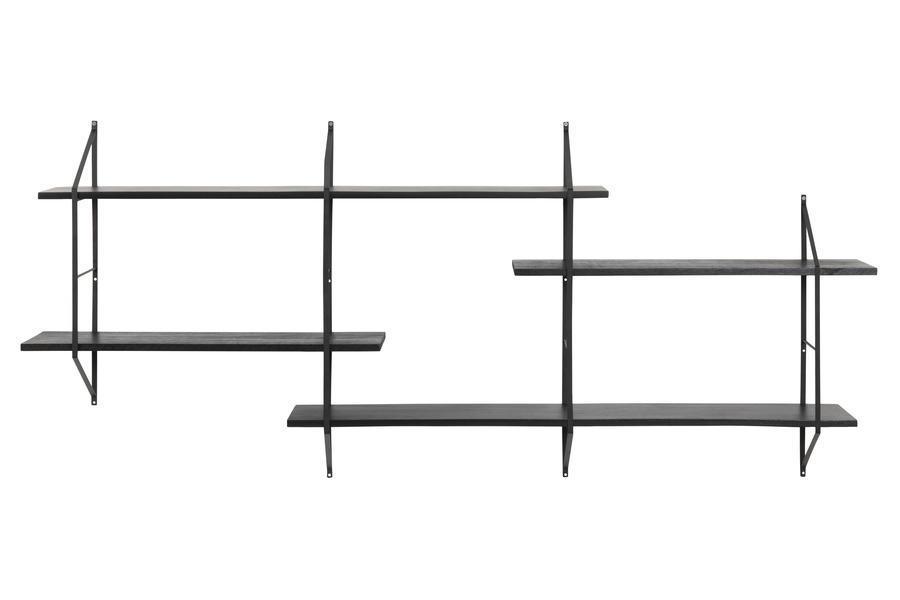 wandrek Belly Wandrekjes Industrieel Scandinavische Stijl metaal + hout Zwart maatwerk