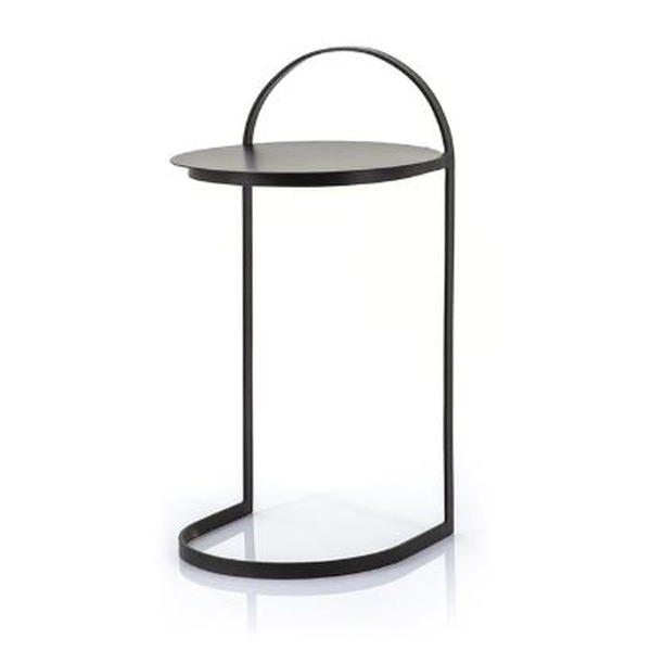 Zwart klein tafeltje in metaal voor naast de zetel