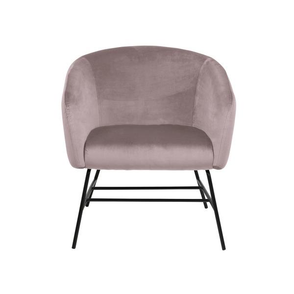 Modern zeteltje in zachte stof roze of grijs op metalen poten