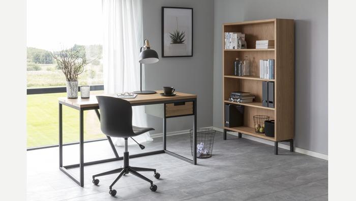 Bureau zwart metaal met lade en houten blad