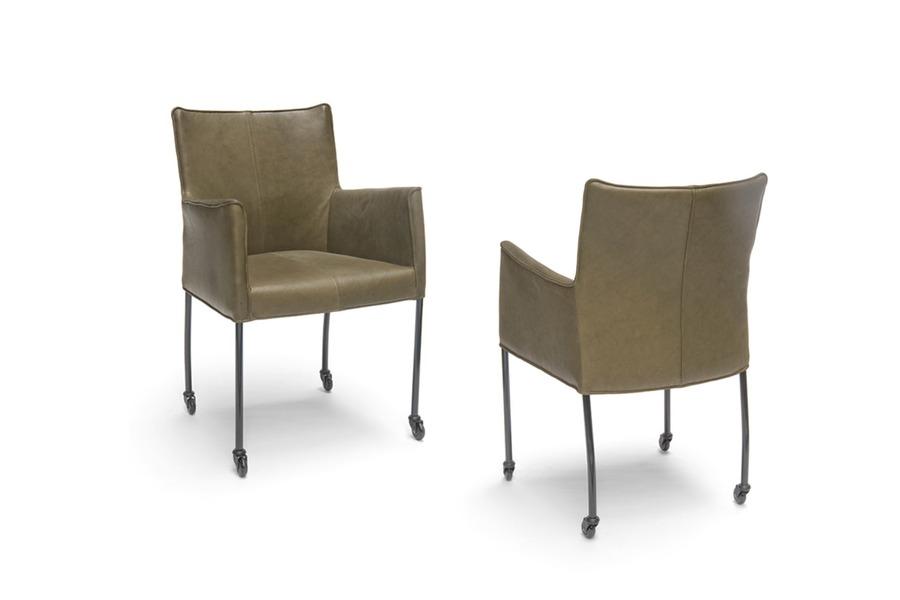 Armstoel cabana stoelen industrieel leder wieltjes groen