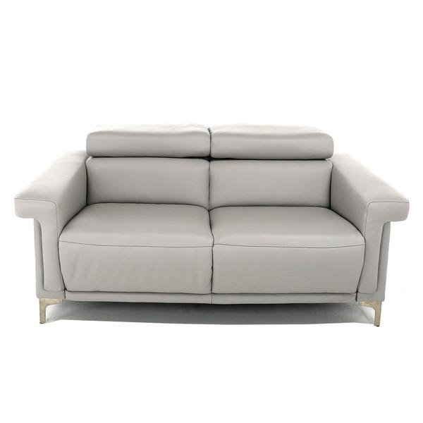 2-zit zetel in lichtgrijs leder met manueel opklapbare hoofdsteun