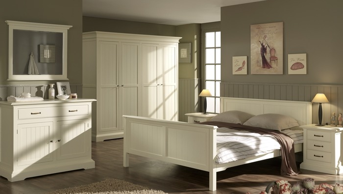 Houten bed 160 breed in eik landelijk