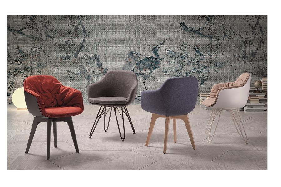 Stoel Lap Stoelen Italian Design Stof + poten metaal Zwart maatwerk - Toonzaal Meubelen Larridon