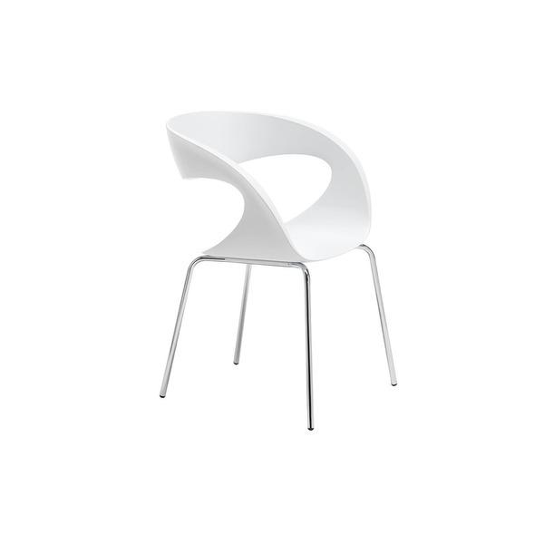 Design stoel in kunststof wit met opening in rug