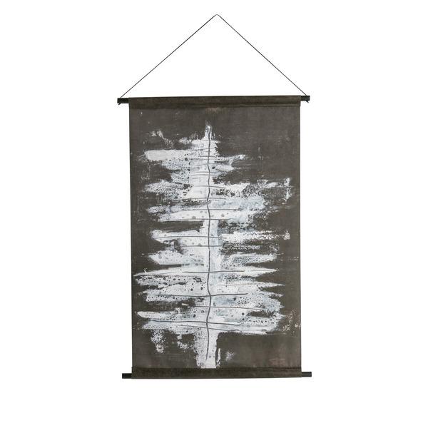 doek met winter boom in zwart-wit