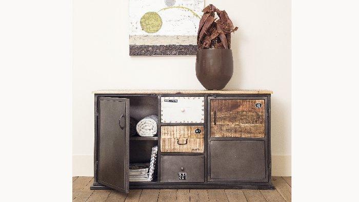 Dressoir met deuren en lades in metaal en hout in verschillende kleuren