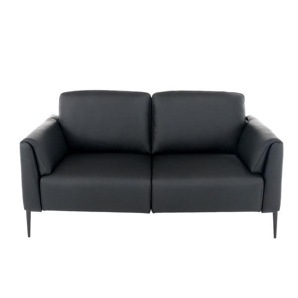 Moderne lichte canapé in zwart leder op hoge poten