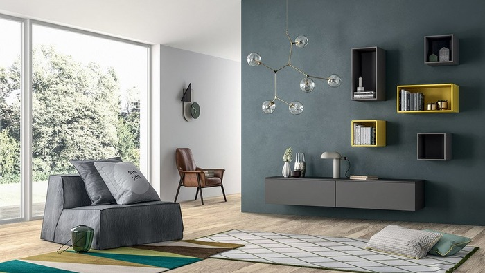Hangdressoir in grijs lak met 5 lades modern