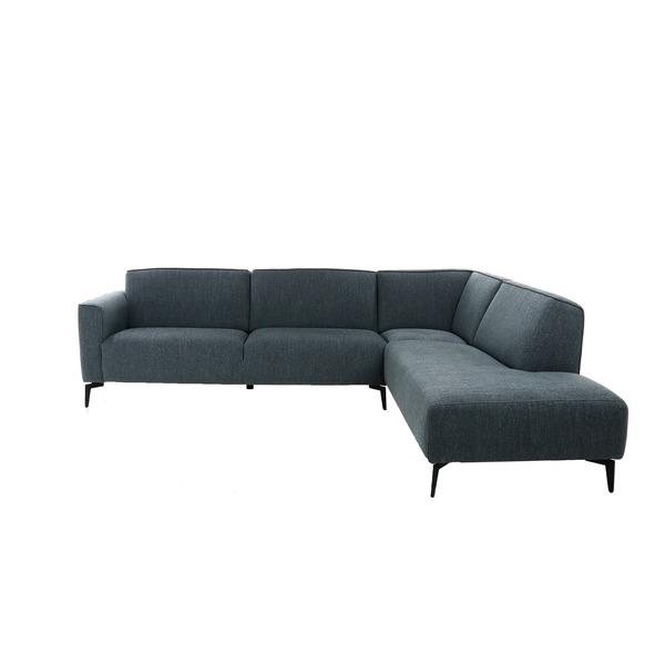 Strakke hoeksalon in blauwe stof met vaste rug-en zitkussens op poten