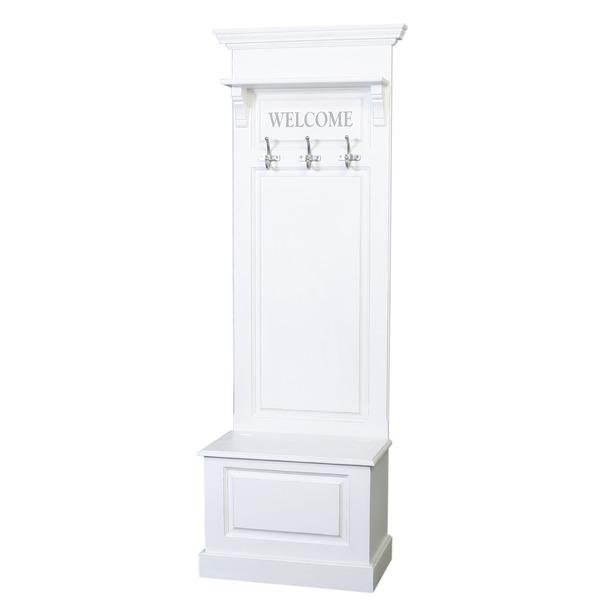 Garderobe meubel met kapstokken in wit