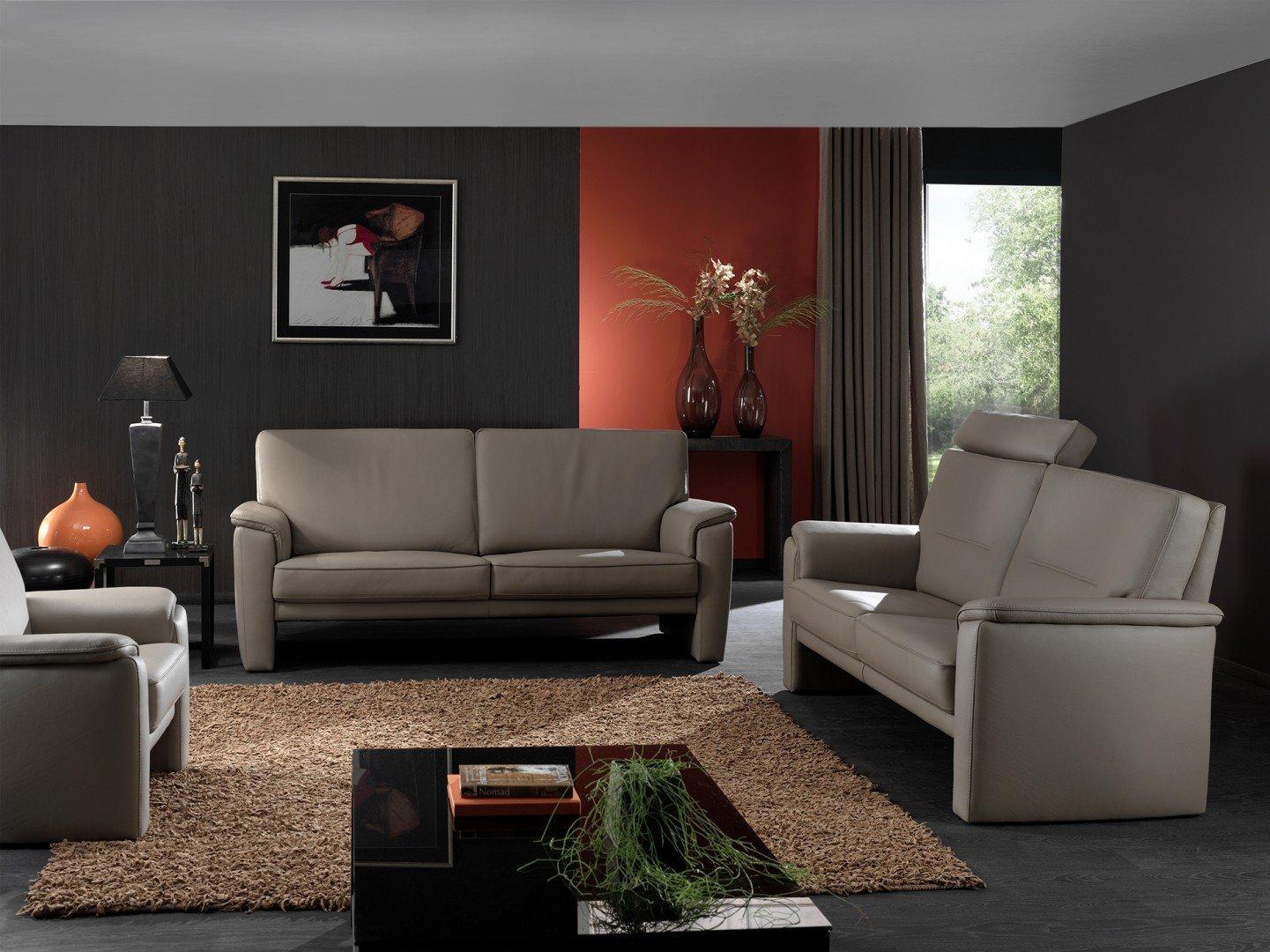 Salon in leder open model met uitschuifbaar zitkussen