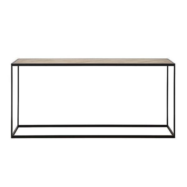 console met houten bovenblad in parketmotief en zwart metalen frame