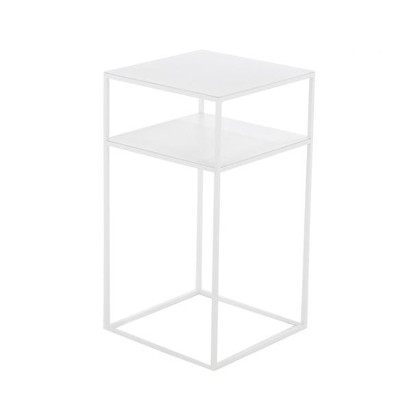 Wit tafeltje in metaal met tussenblad als nachtkastje