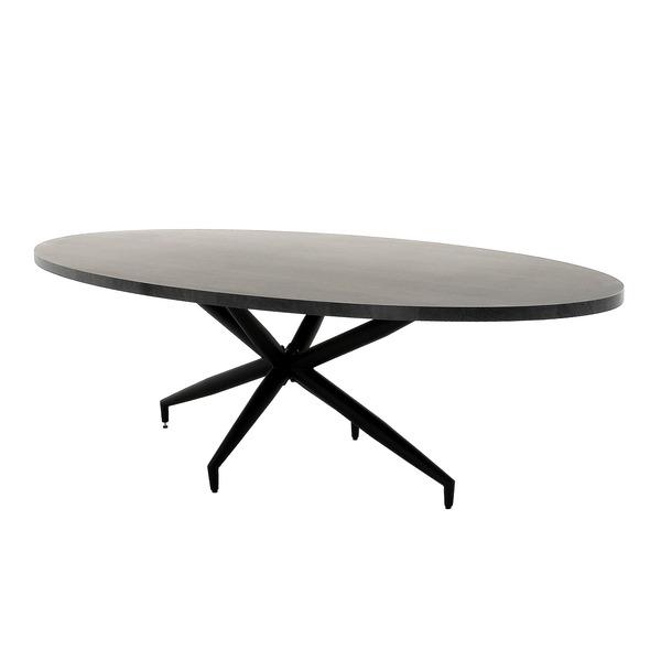 goedkope ovale eettafel in hout met zwarte sterrenpoot in metaal