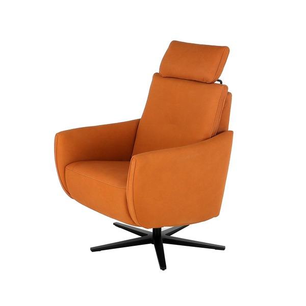 Moderne relaxzetel elektrisch op draaivoet in oranje zacht leder met hoofdsteun